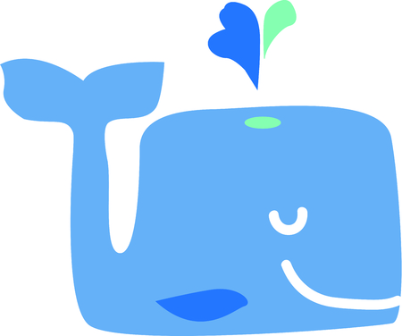 hes: This cute whale will be fun an adorable toddlers shirt or even a bath robe. Illustration