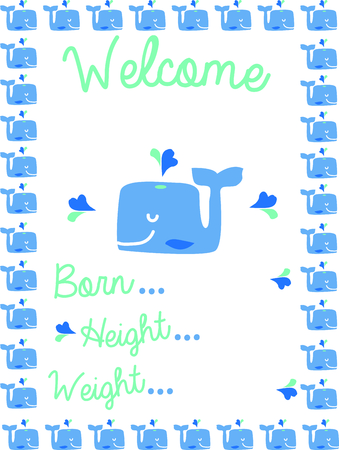 birth announcement: Use this whale design for a birth announcement on a baby blanket.