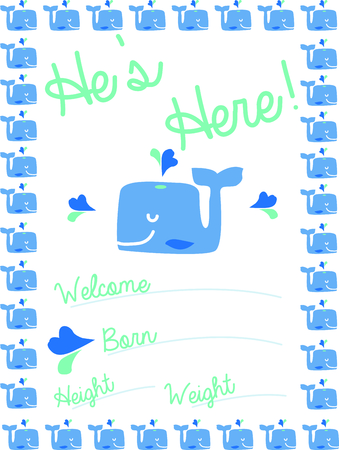 Use this whale design for a birth announcement on a baby blanket.