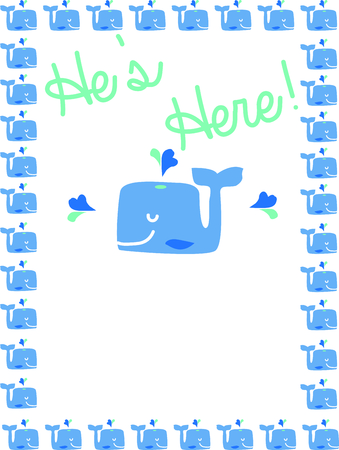 hes: Use this whale design for a birth announcement on a baby blanket.