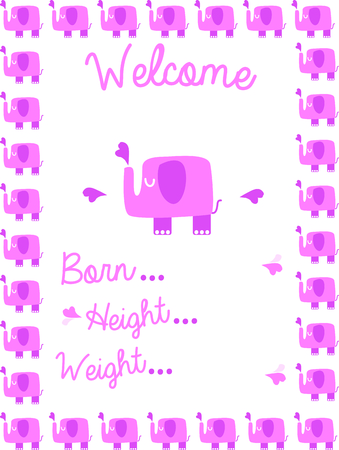 Use this elephant design for a birth announcement on a baby blanket.