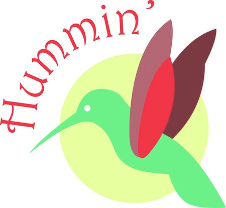 humming: Use this humming bird on a wallet or purse. Illustration
