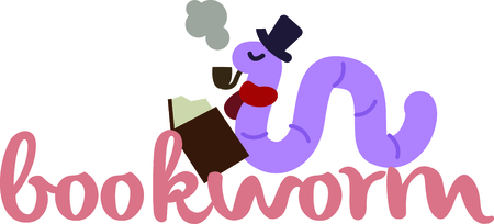 novel: Read a great book with a cool bookworm friend. Illustration