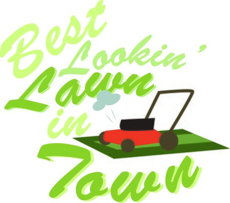 lawnmower: Take this lawnmower with you to work in your yard. Illustration
