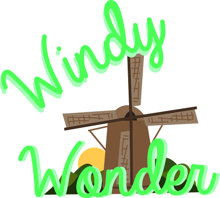 Een windmolen is het perfecte decor voor een reis-project. Stock Illustratie