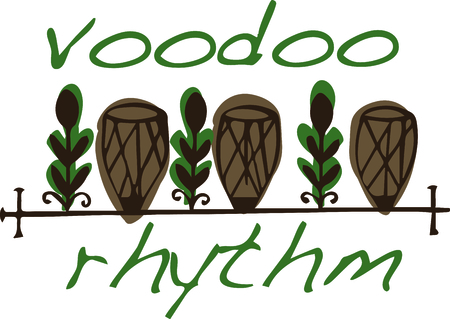 religious music: Use these religious voodoo drums for your favorite New Orleans drummer. Illustration