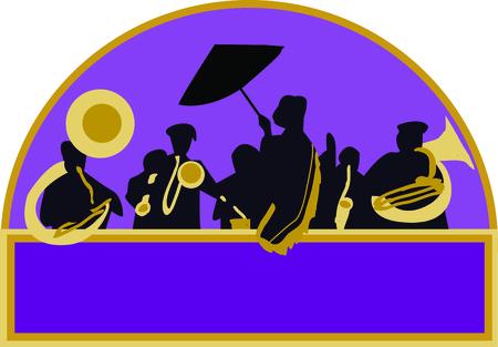 좋아하는 재즈 뮤지션을 위해 프렌치 쿼터 밴드를 사용하십시오. 일러스트