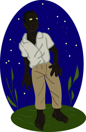 depiction: Celebrate the movie Voodoo Dawn with this depiction of one of Makoutes zombies.