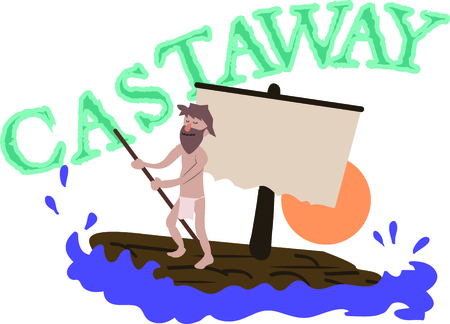 castaway: A perfect design for your sailor, boater or lover of all things nautical embroider on clothes, towels,  gear bags,  t-shirts, jackets or wall hangings.