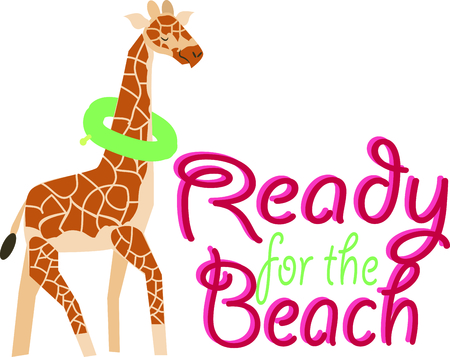 This magnificent giraffe is ready to swim onto towels, beach totes, t-shirts, quilts and more!