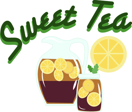 quenching: Its not summer until theres a pitcher of sweet tea in the fridge.  This colorful design will be cool and quenching on cozies, kitchen towels and more.