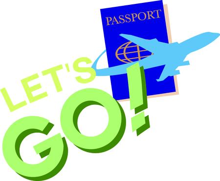 Prenez votre passeport et soyez prêt à élargir vos horizons! Cette conception est parfaite sur les étiquettes de bagages, vêtements et plus pour vos bogues de voyage! Banque d'images - 45982194