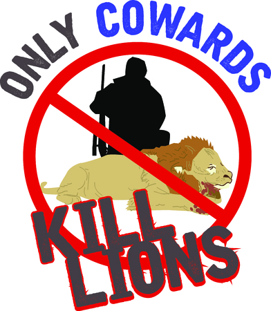 big game: Display your responsibility to spread the word to outlaw big game hunting, with pride, with this design on bags, banners, t-shirts and more. Illustration