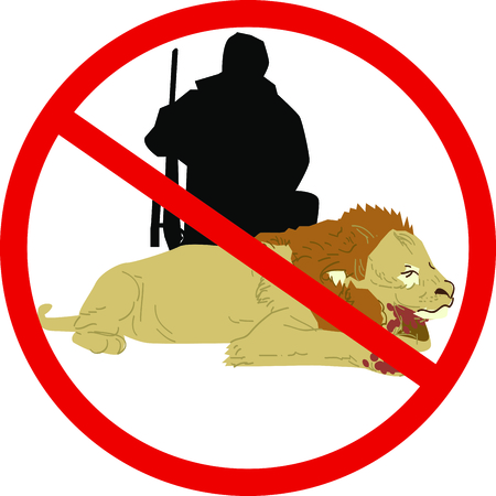 spread the word: Display your responsibility to spread the word to outlaw big game hunting, with pride, with this design on bags, banners, t-shirts and more. Illustration