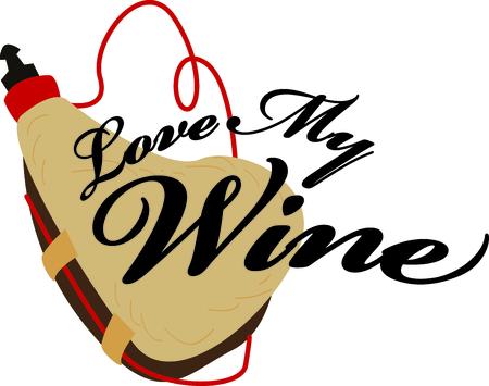 Tijd om te vieren met dit perfecte ontwerp om de vino kenner plezieren! Dit koele ontwerp zal goed op cocktail servetten, keuken decor en meer kijken! Stock Illustratie