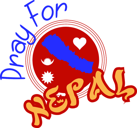 This is a great design on banners, framed embroidery and gifts for fund raisers to launch an appeal to provide food, shelter and emergency supplies for the flood victims of Nepal! Фото со стока - 46348726