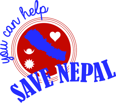 provide: This is a great design on banners, framed embroidery and gifts for fund raisers to launch an appeal to provide food, shelter and emergency supplies for the flood victims of Nepal! Illustration