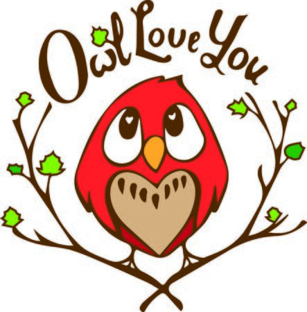 hoot: Sweeten up your Valentines Day and show some love with this design on your holiday projects.