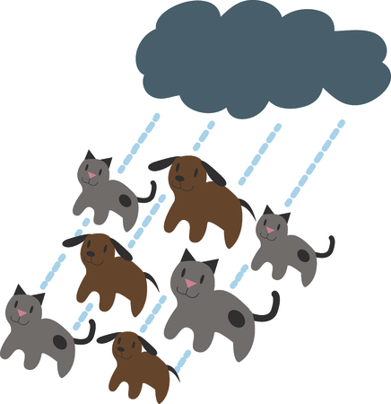 raining: Its raining cats and dogs!  This doggone cute design will be purrfect on framed embroidery, clothing and more! Illustration