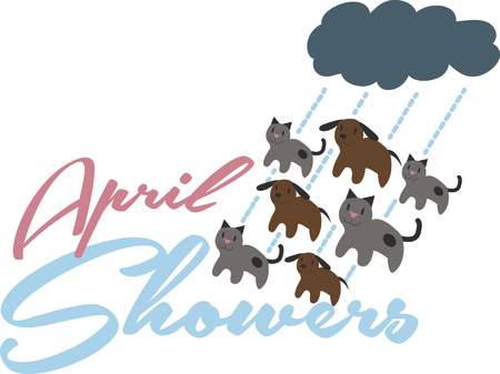 Its raining cats and dogs!  This doggone cute design will be purrfect on framed embroidery, clothing and more! Çizim