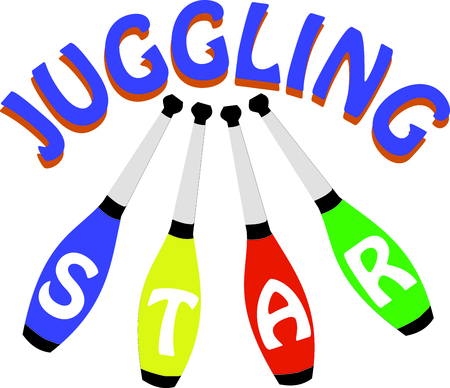 juggle: Toss the clubs in the air!  Add this design to sport bags, towels, clothing and more for your juggling enthusiasts.