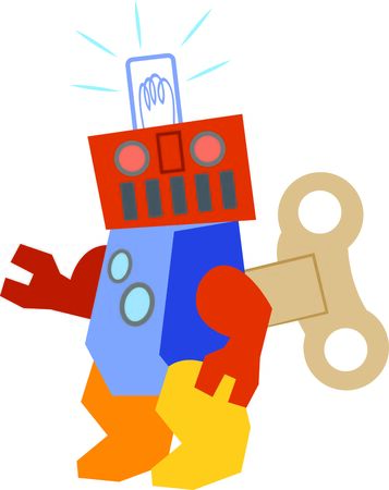 seeks: The wind up robot seeks space to share on t-shirts, bags and kids room decor.