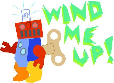 Il vento fino robot cerca spazio per condividere su t-shirt, borse e arredamento della camera bambini. Archivio Fotografico - 51337603