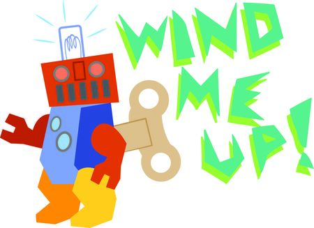 The wind up robot seeks space to share on t-shirts, bags and kids room decor.