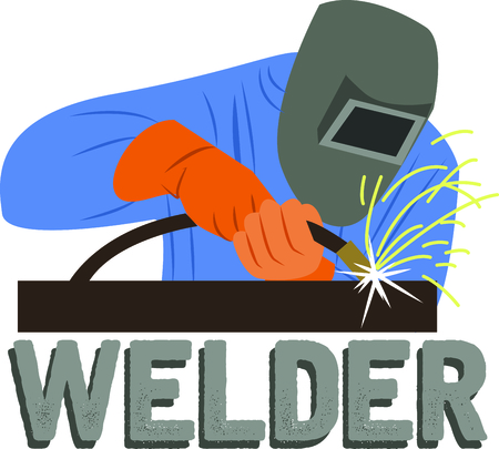 weld: A great design on carryalls, sweatshirts, jacket backs, quilts, wall hangings, and anywhere else you can think of to recognize your favorite welder. Illustration