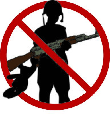 spread the word: Display your responsibility to spread the word to stop child soldiers, with pride, with this design on bags, banners, t-shirts and more. Illustration