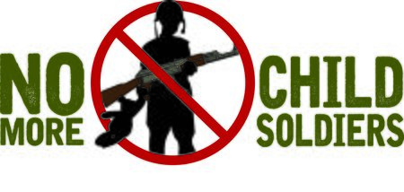 this: Display your responsibility to spread the word to stop child soldiers, with pride, with this design on bags, banners, t-shirts and more. Illustration