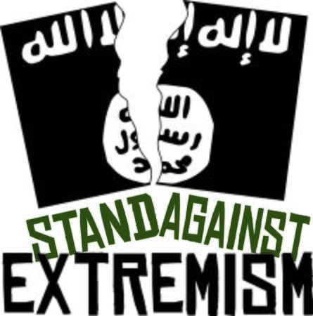 Display your responsibility to spread the word to stand against extremism, with pride, with this design on bags, banners, t-shirts and more.
