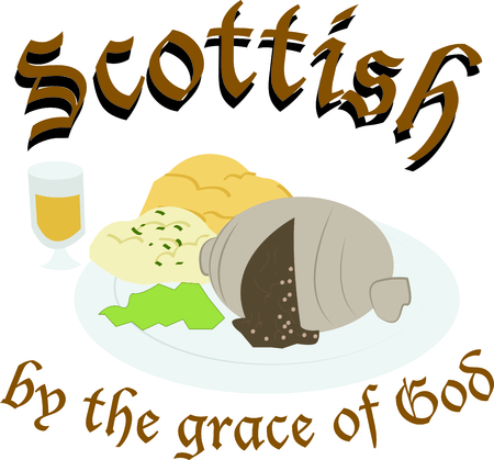 Bon Appetit! Make a perfect gift every time with this Scottish delicacy design on aprons, towels, napkins, place mats, potholders, etc. Illustration