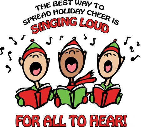 Buddy the Elf made this a popular saying and now you can share this cute saying and carolers with everyone!  Use this on a childs tee or home decor for a fun look!
