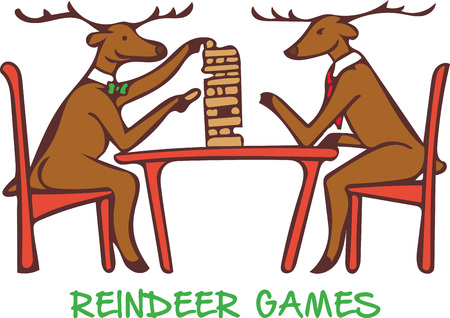 furnishing: What a fun design of a couple of reindeer playing jenga! This will look adorable on a childs shirt, bib or blanket! Illustration