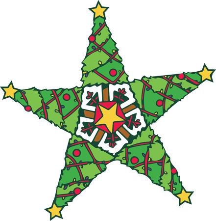 クリスマス気分を取得、これをステッチ シャツ、毛布、または家の装飾の上にクリスマスの木から作られたこの愛らしい星を助ける準備ができてい