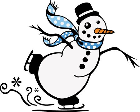 jack frost: Get ready for winter with this cute skating snowman design! Stitch this onto a childs shirt, stocking or napkins! Illustration
