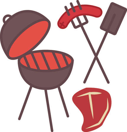 It is all about eating.  Get this grilling inspired design on towels, aprons, and shirts for the perfect gift. Illustration