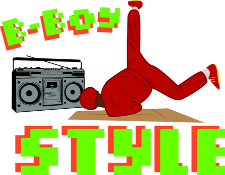 ghetto blaster: Awaken the dancer within.  This design is great to make unique gifts for loved ones on t-shirts, sweatshirts, totes and more! Illustration