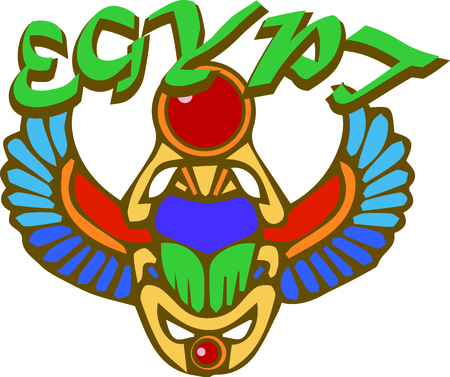 egyptian culture: By far the most important amulet in ancient Egypt was the scarab symbolized self-creation or rebirth. This African culture design is perfect on framed embroidery, throw pillows and more! Illustration