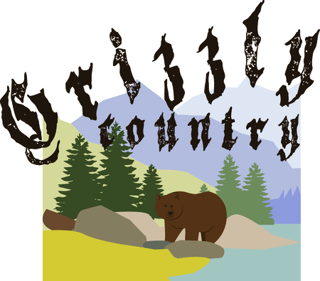 Be ready to face the majestic grizzlies while you explore the mountains of Alaska!  Please the game hunter with this design on clothing, throw pillows and more! Иллюстрация
