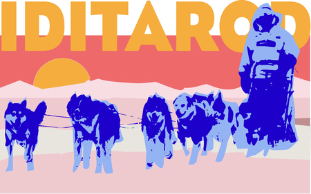 eskimo dog: The Iditarod trail is the  worlds longest winter ultra marathon by fat bike, foot and ski!  Make a keepsake for loved ones with this design on clothing, totes and throw pillows! Illustration