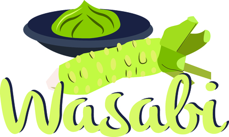 wasabi: Add an oriental flavor with this wonder of the Japanese kitchen on your kitchen towels, napkins, tablecloth and more!