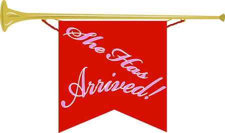 Vier de aankomst van uw pasgeboren met dit ontwerp op banners, ingelijst borduurwerk, kleding en nog veel meer!