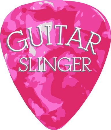 pick: Rock on the wild side! Stitch this cool guitar pick design on shirts, bags, and more for your rock stars.