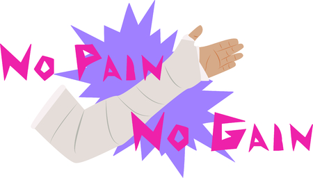 Do you know someone recovering from an injury? Add this No Pain No Gain design on t-shirts, hoodies, banners, tote bags and more. Illustration