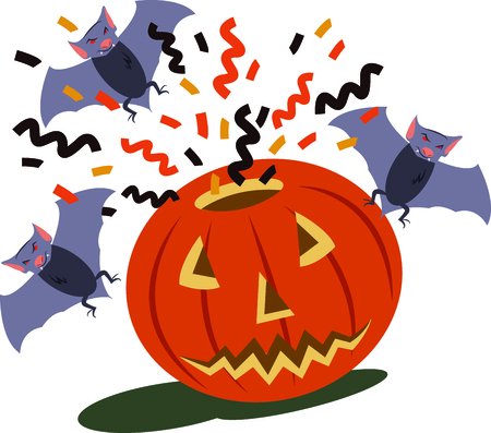placemats: Get ready for Halloween with this neat Pumpkin And Bats design. This will look great on placemats, t-shirts, banners, throw pillows, tote bags and more.