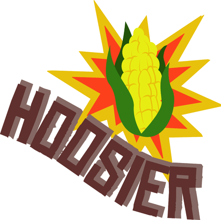 neat: Show off your Hoosier pride with this neat ear of corn design. This will look great on t-shirts, hoodies, jackets, banners, tote bags and more. Illustration