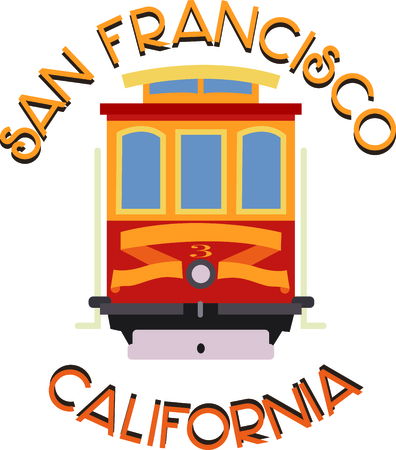 Show off your love of San Francisco with this neat trolley design. This will look great on t-shirts, hoodies, banners, tote bags and more.