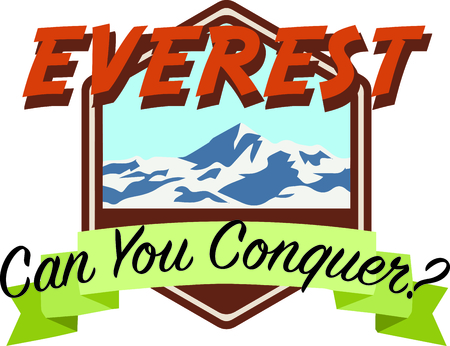 Personalize your project with this lovely Mount Everest design. This will look great on t-shirts, hoodies, banners, throw pillows, tote bags and more. Фото со стока - 64732381